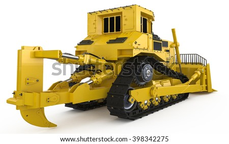 Rack-type loader bulldozer excavator isolated 3d rendering