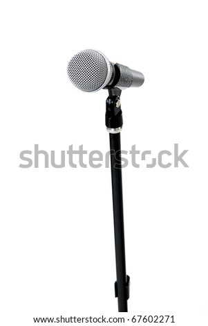 Rack with a microphone on the isolated white background