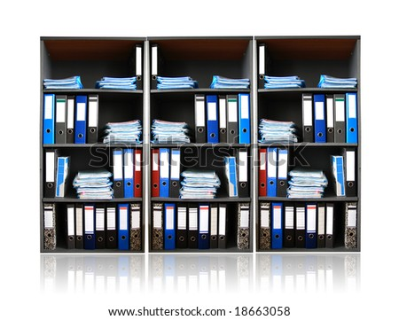 Rack with documents - stock photo
