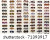 rack with glasses and sunglasses  close up - stock photo
