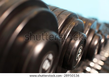 Rack with weights in gym