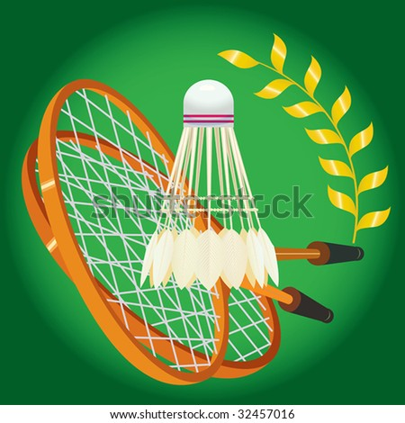 Racket and shuttlecock for game in badminton. vector. illustration - stock photo