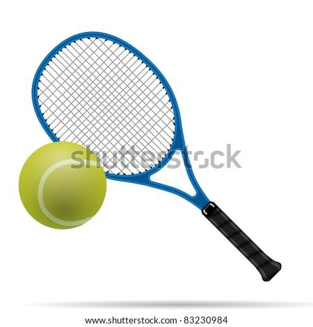 Racket and tennis ball - stock photo