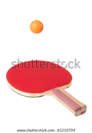 Racket for ping-pong and ball on white background - stock photo
