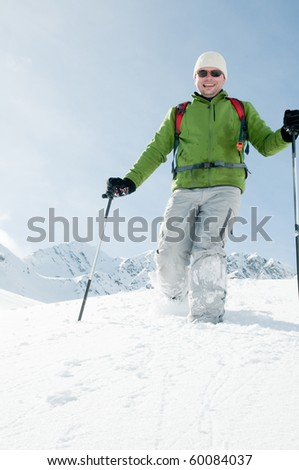 Racket trekking in snow