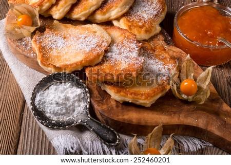 racuchy - Polish yeast pancakes - stock photo