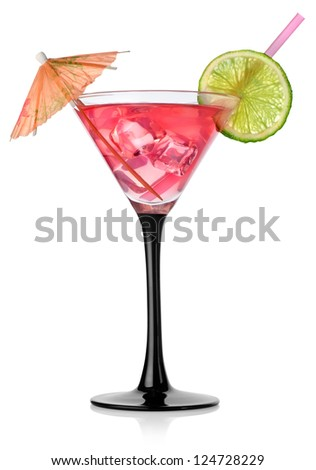 Rad cocktail in a glass isolated on a white background - stock photo