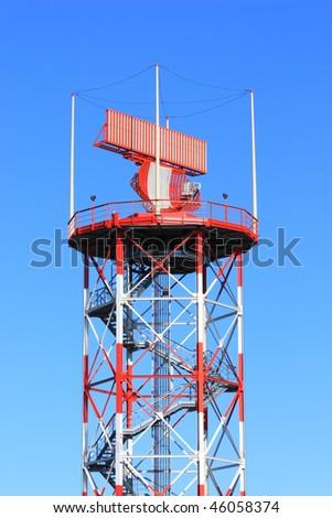 radar in airport, air traffic control - stock photo