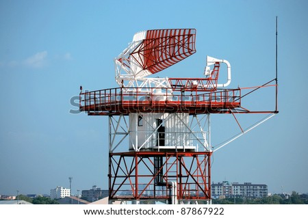 radar in airport and air traffic control in bangkok, Thailand - stock photo