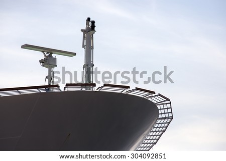 Radar in the bow of a large cruise ship - stock photo