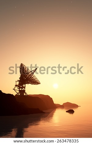 Radar on a background of the  lanshafty. - stock photo