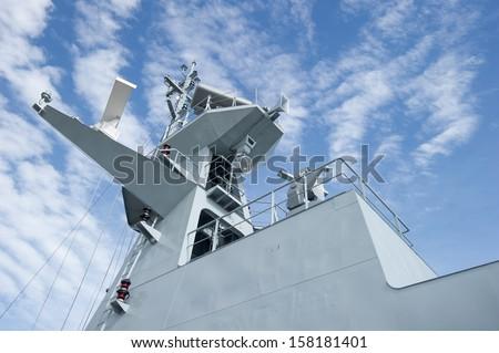 radar on a tower of a Battleship - stock photo