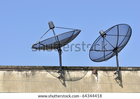 Radar Satellite receiver for TV viewing. Installed on the roof of the shelter. Are very popular - stock photo