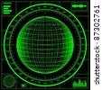 Radar screen. Digital globe with scale. Raster version of the illustration. - stock photo
