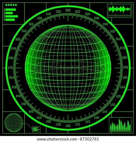Radar screen. Digital globe with scale. Raster version of the illustration. - stock photo