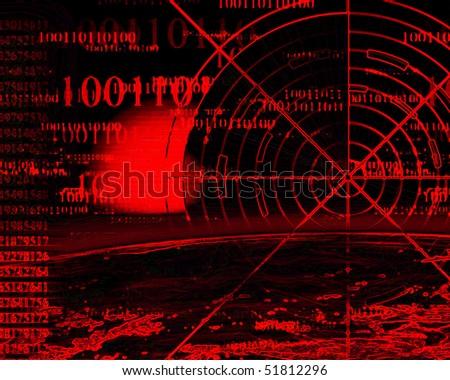 radar screen on a dark red background - stock photo