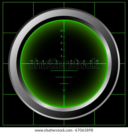 Radar screen or sniper sight. Raster version of the image. - stock photo