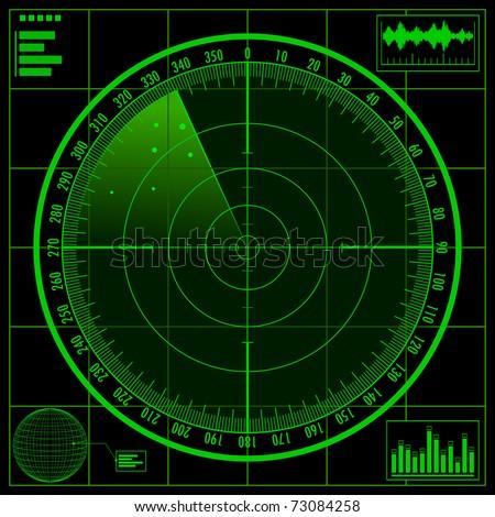 Radar screen. Raster copy of vector illustration. - stock photo