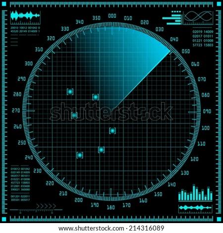Radar screen. Raster version of the illustration. - stock photo