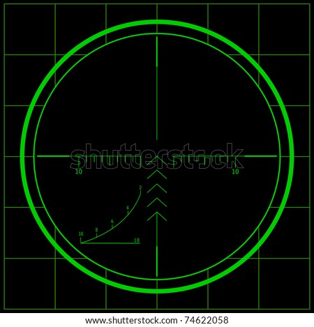 Radar screen. Raster version of the illustration. - stock photo