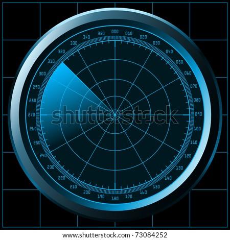 Radar screen (sonar). Raster copy of vector illustration. - stock photo