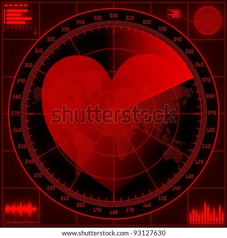 Radar screen  with red heart. Raster version of the illustration. - stock photo
