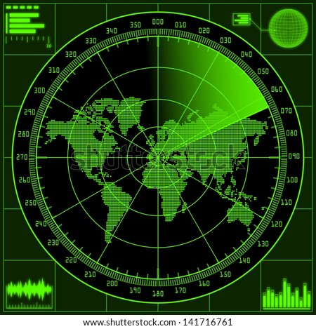 Radar screen with world map. Raster version of the illustration. - stock photo