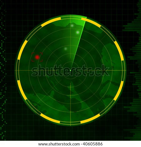 Radar with red target blip and green sweeping arm. - stock photo