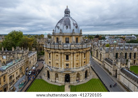 Radcliffe Camera seen from Church of Saint Mary the Virgin in Oxford, England