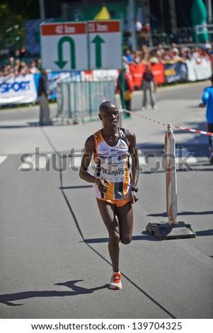 RADENCI - MAY 18: Danijel Kinyua Wanjiru running on a Marathon in Radenci on May 18, 2013 in Radenci, Slovenija. - stock photo