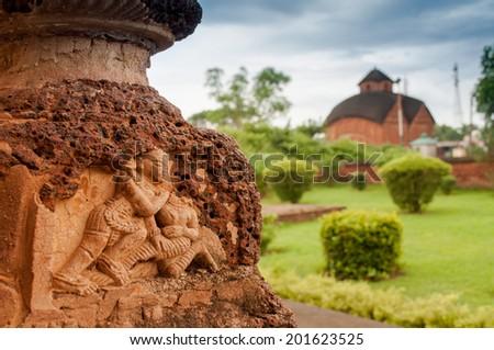 Radhagobinda Temple, Bishnupur , India - made of terracotta (baked clay) - world famous tourist spot. - stock photo