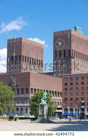 Radhuset in Oslo, Norway, famous landmark of this beautiful Scandinavian city - stock photo