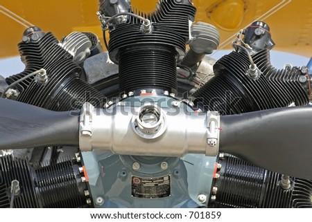 radial aircraft engine - stock photo