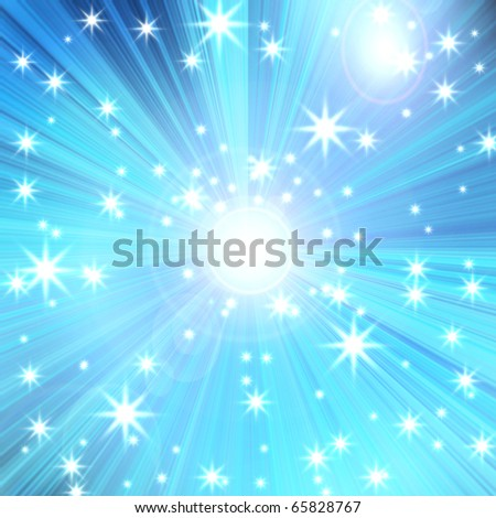 radial glow with rays and stars, abstract background - stock photo