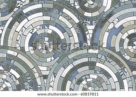 Radial mosaic tiles - stock photo