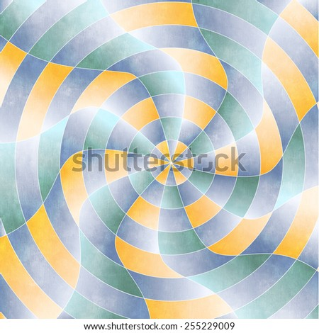 Radial Pattern with curves radiating out and orange, green and blue colors on Stucco textured surface - stock photo