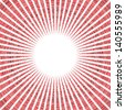 radial red sun pattern on white - stock photo