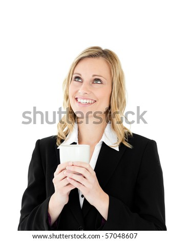 Radiant businesswoman holding a drinking cup isolated on a white background