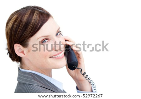Radiant businesswoman talking on phone isolated on a white background