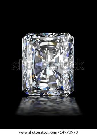 Radiant diamond on black - stock photo