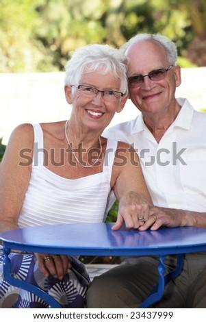 radiant senior couple - stock photo