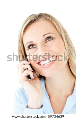 Radiant young businesswoman talking on phone against a white background