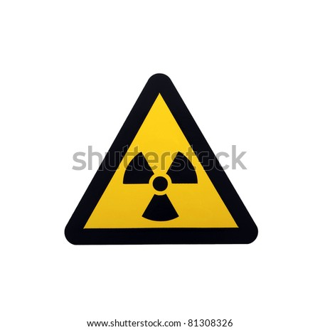 Radiation caution sign on white background - stock photo