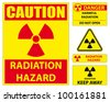 Radiation hazard signs. Vector available. - stock photo