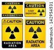 Radiation hazard stickers, four labels. Rasterized versions (copy of the my vector) - stock vector