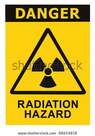 Radiation hazard symbol sign of radhaz threat alert icon, black yellow triangle signage text isolated - stock photo