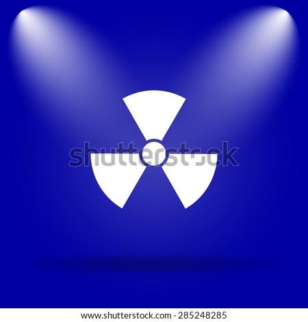 Radiation icon. Flat icon on blue background.  - stock photo