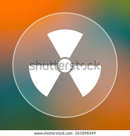 Radiation icon. Internet button on colored  background.  - stock photo