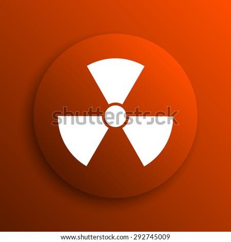 Radiation icon. Internet button on orange background  - stock photo