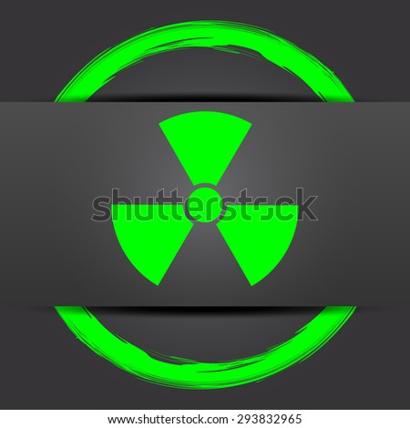 Radiation icon. Internet button with green on grey background.  - stock photo